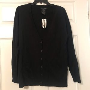 Black button front long sleeve cardigan